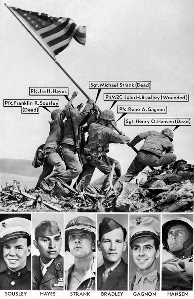 The famous photo of the Iwo Jima flag raising, 1945. At the time of this particular assembly the Marine on the far right was misidentified. He has since been correctly identified as Cpl. Harlon Block, not Hansen.
