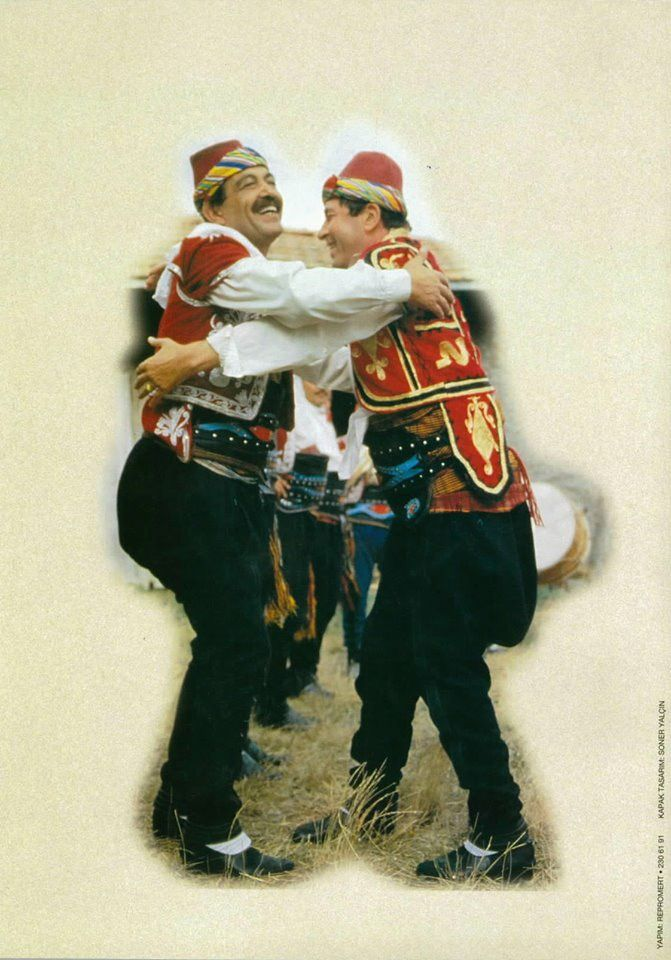 A men's dance from the Çorum province.  Part of the culture linked with the people's militia, organized in social/economic guilds.  This particular dance is part of the welcome ceremony, when the guild's leader embraces each member separately; it is generally the first part of a longer dance, called 'Çorum Halayı'.