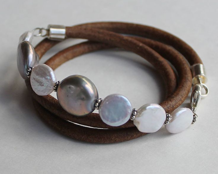 Pearl and Leather Stacking Bracelets multi wrap bracelets