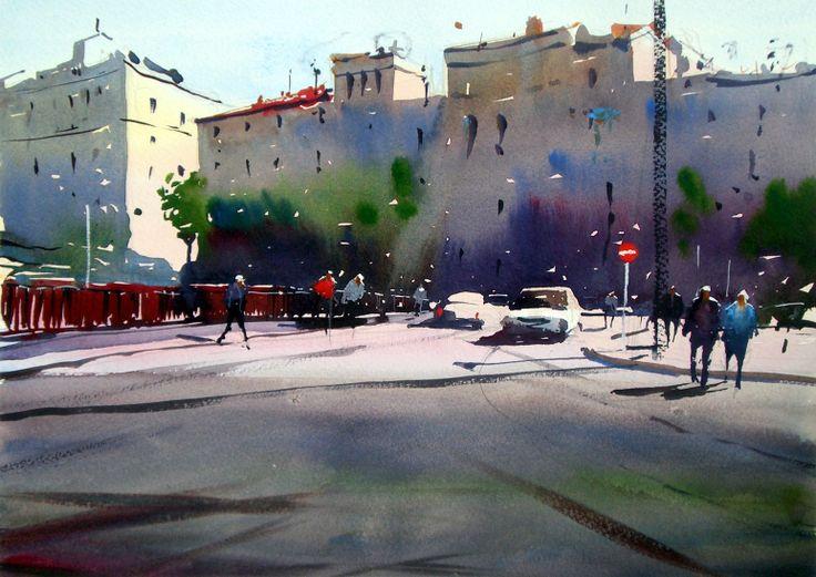 #Watercolour of Placa Catalunya in #Girona - 13-10-12