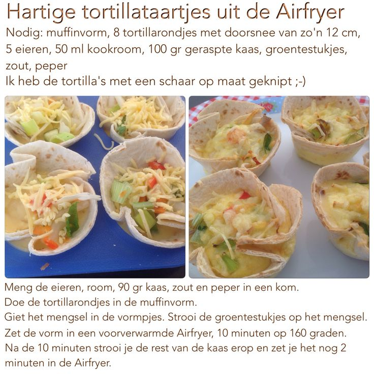 Hartige tortillataartjes uit de Airfryer. 12 minuten, 160 graden. AK