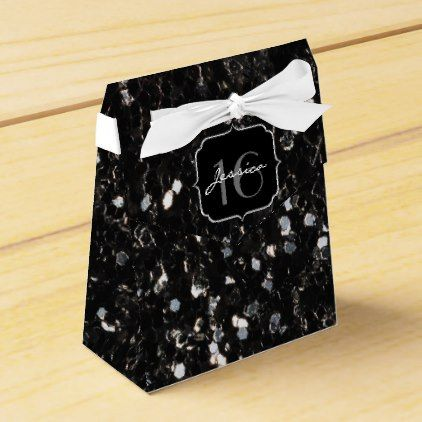 Black and white shiny glitter sparkles  Sweet 16 Favor Box - glitter glamour brilliance sparkle design idea diy elegant