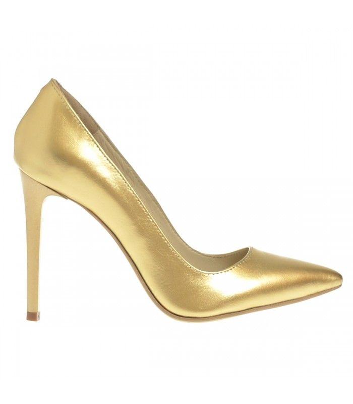 Pantofi Stiletto din Piele Naturala Aurie- Cod S320