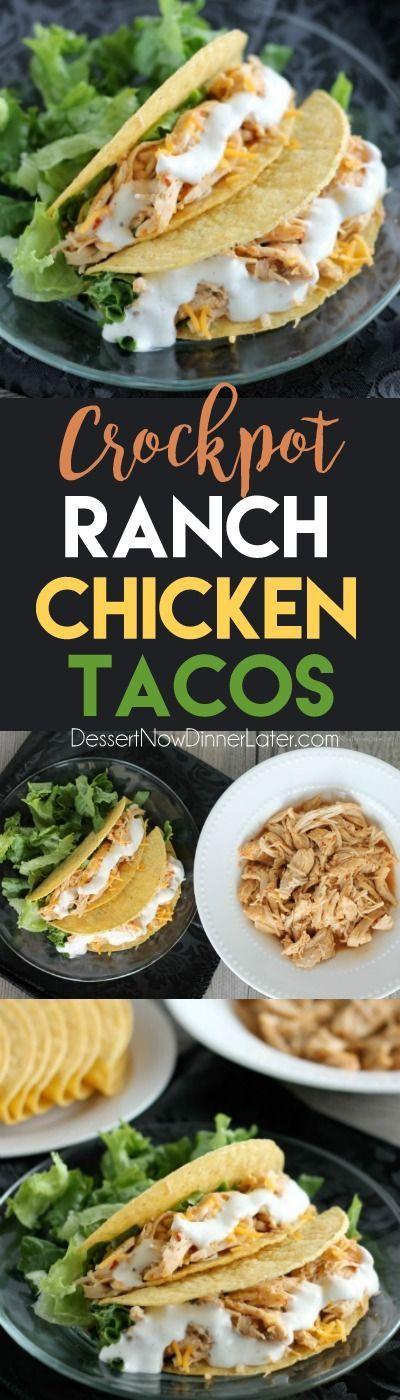 Chicken plus 3 ingredients gets you Crockpot Chicken Ranch Tacos in 5 to 6 hours of slow cooking time. Flavorful for salads and burritos as well. It's dinner made easy!