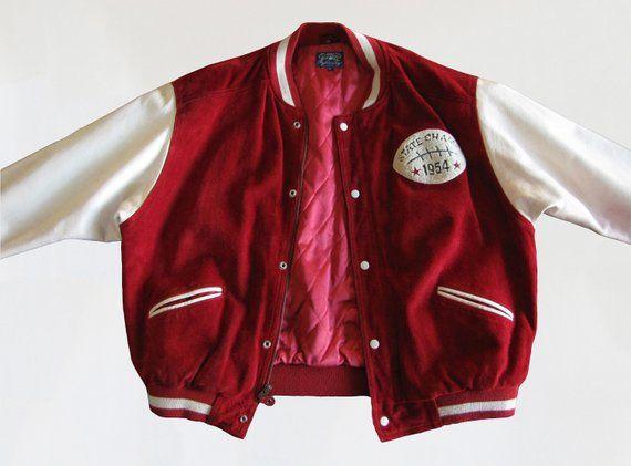 Vintage 1950s Letterman Jacket 50s Style Leather Bomber Jacket 50s Varsity Baseball Jacket Red White Quilted Burgundy Jackets Red Jacket Letterman Jacket