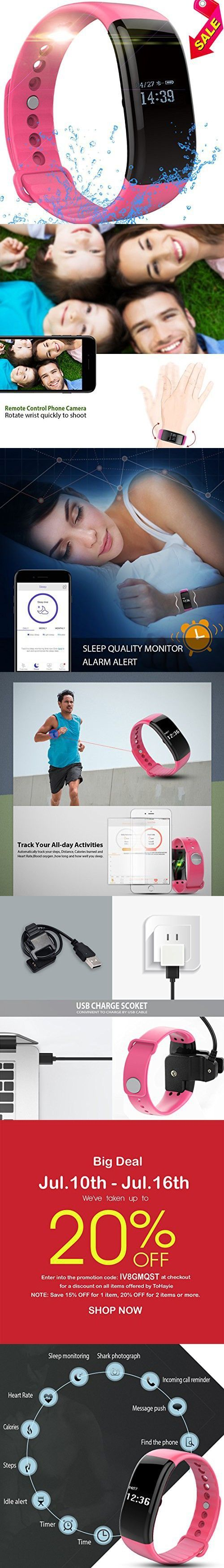 Fitness Tracker Watch, ToHayie Waterproof Fitness Tracker with Heart Rate Monitor Activity Bluetooth Bracelet Watch for Apple IOS Android Smartwatch with Sleep Monitoring Wristband Band Pink