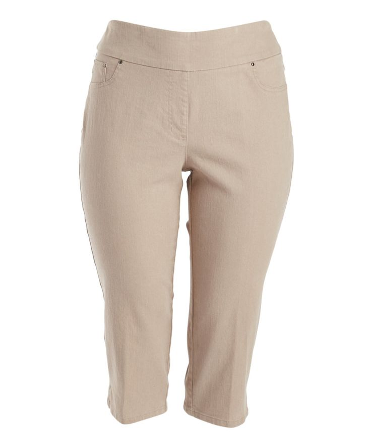 Take a look at this Ruby Rd. Taupe Stretch Denim Capri Pants - Plus today!