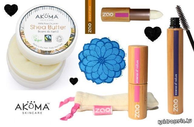 Organikus szépségszett :] Akoma organikus sheavaj, ZAO bio szempillaspirál, ZAO bio ajakbalzsam stift. Bambusztok + textilszütyő. // Organic beauty set :] Akoma organic shea butter, ZAO organic mascara, ZAO organic lipbalm stick. Bamboo case + pouch.
