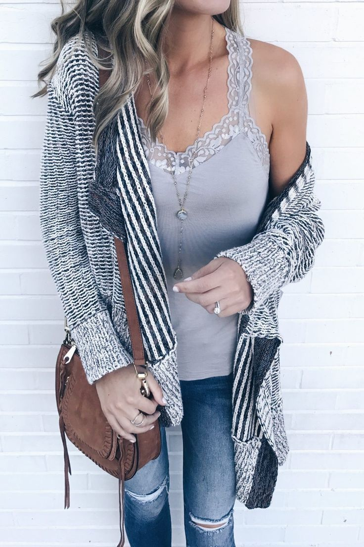 fall transition outfits - gray lace trim camisole with shelf bra under cotton knit drape front open cardigan on pinterestingplans