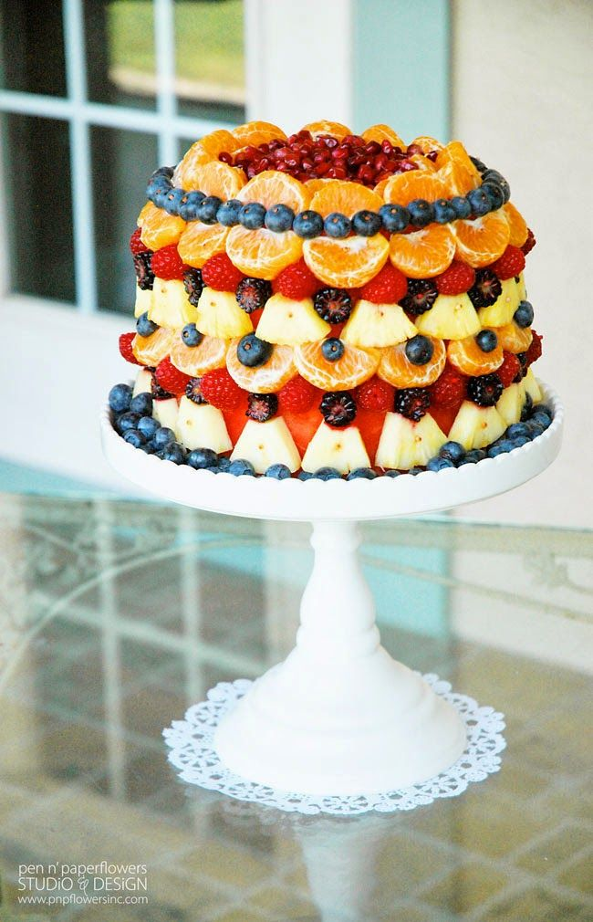 CAKE   Healthiest Cake on the Planet - Fresh Fruit Layered to look like a cake!
