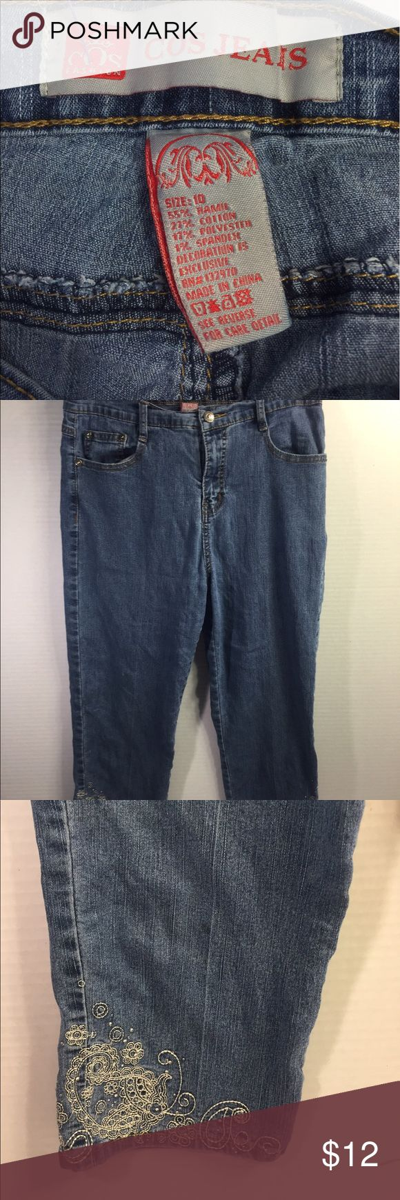 COS CAPRI SZ 10 WOMENS light washed Jean Very Cute white embroidered on pockets and cuffs COS Jeans