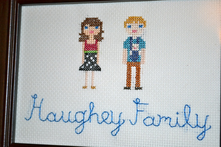 Cross Stitch Family Portrait (baby makes three!)