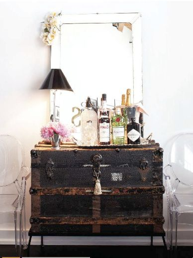 adding legs to an old trunk - what a great idea!  I got rid of an old trunk like this - drats!  glass top would be a must.
