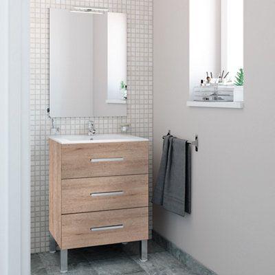 Mueble baño Madrid roble 80 x 40 cm · LEROY MERLIN ...