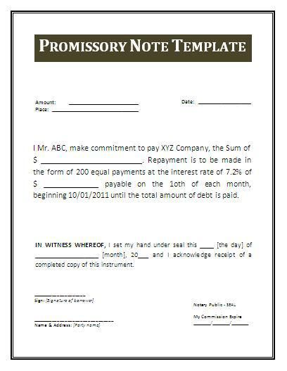 Free Promissory Note Template Word Document] Printable Sample ...