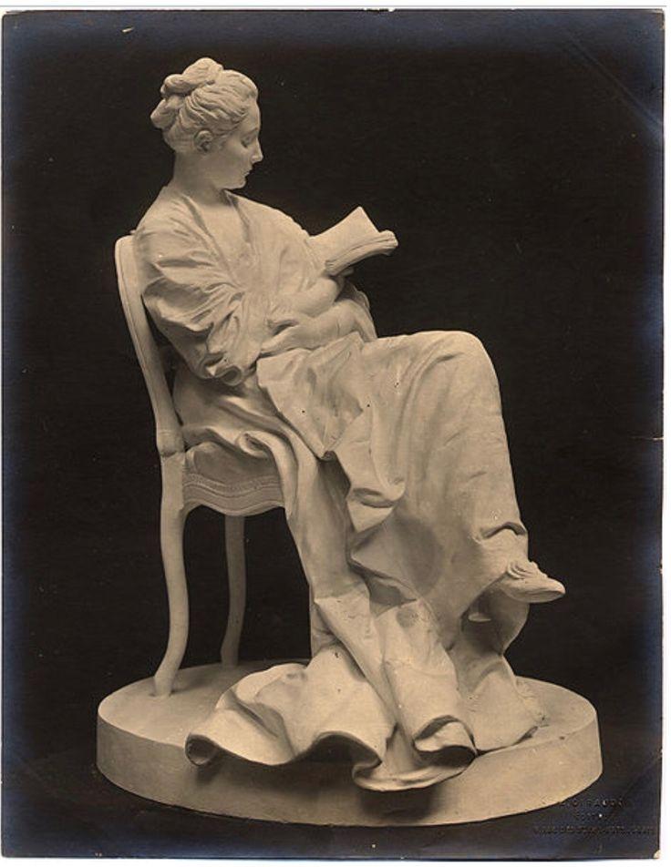 """Jules Dalou: """"La Liseuse"""" (The Reader), circa 1871-1879, plaster, Current location: Petit Palais; Paris, France."""