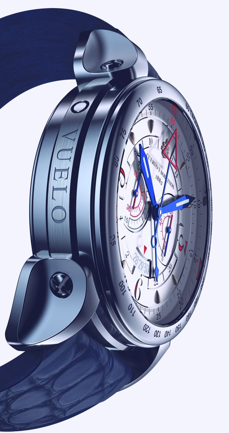 Cuervo y Sobrinos Historiador Vuelo Automatic (stainless steel case, side view)