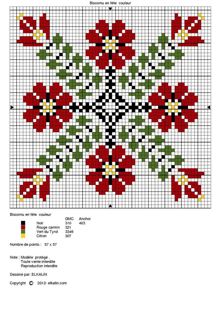 Spring biscornu chart
