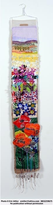 Wall hanging - recycled material, collage - Janet Camden-Smith