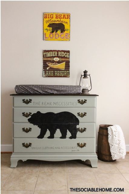Learn how to paint an image on your dresser in just a few easy steps! You don't have to be an artist! This bear dresser is a great addition to any nursery, and it can be used as a changing table. It was made by the Heywood-Wakefield company, and it is solid birch.