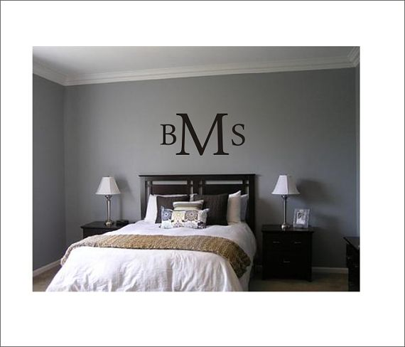 Monogram Vinyl Decal Large Monogram Wall Decor Personalized Initial Master  Bedroom Decal Home Decor On Etsy