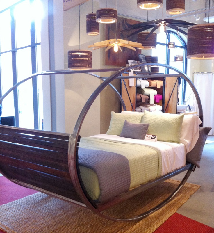 Rock yourself to sleep ->> Indoor & OUTDOOR rocking bed in teak and metal. So amazingly comfortable - everyone stopped and got in..one woman took off her shoes!! #HPMkt #StyleSpotters a sure hit  by Shiner Market Square www.dec-a-porter.blogspot.com: Decor Furniture, Decor Ideas, Dreams, Rocks Beds, Amazing Comforters, Room Ideas, Beds Room, Bedrooms Ideas, Design