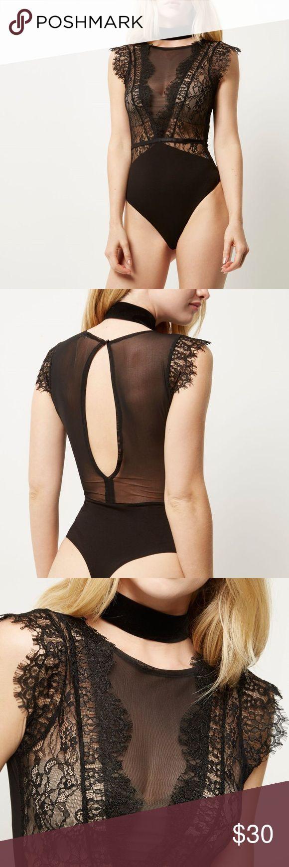 River Island Lace Bodysuit Fashion River Island Black Lace Bodysuit.  NWOT.  Never worn.  Brand new. River Island Tops
