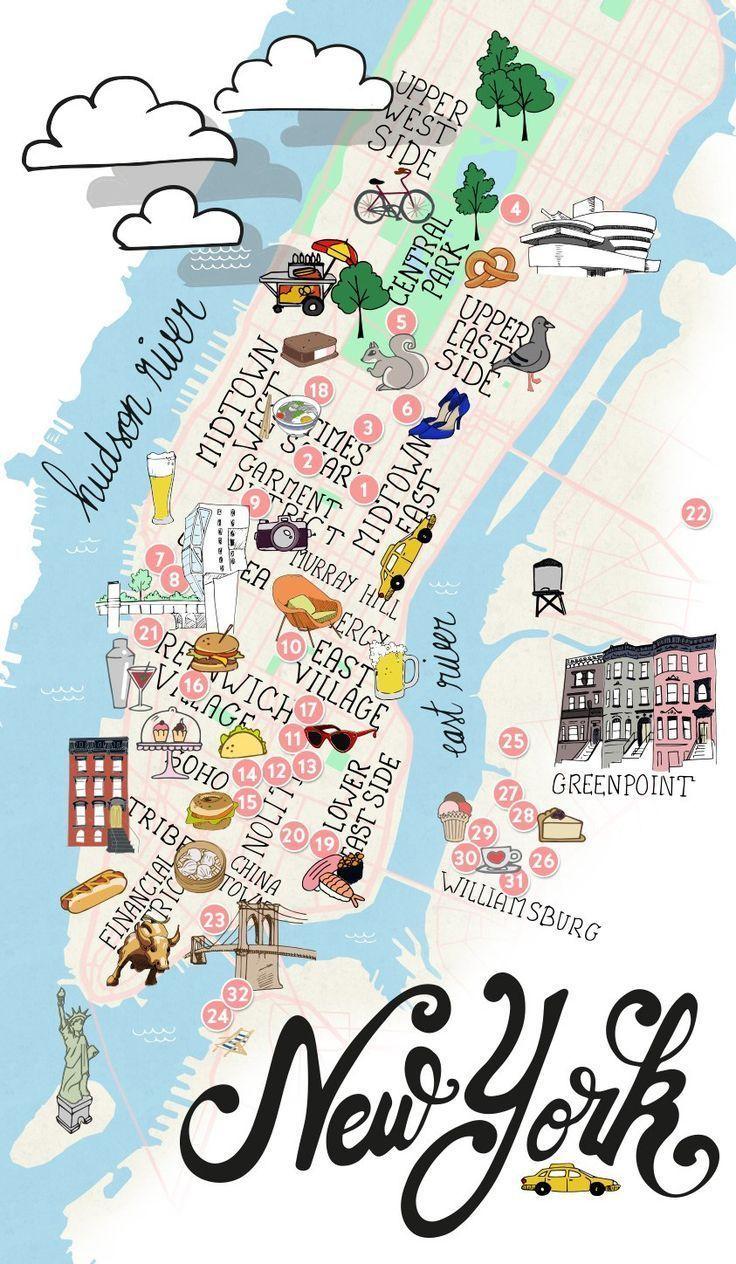 Nyc Manhattan Brooklyn Karte Von New York Mapas De Viaje