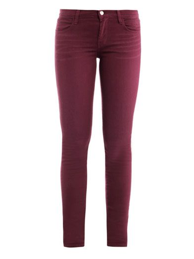 These plum-pink power-stretch denim jeans have a mid-rise and skinny-leg with a top button and zipped front fastening. The fitted jeans have two front pockets, two back patch pockets and belt-loops.