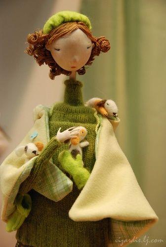 """little doggies -- big fun"".   Displayed on International Doll Salon in Moscow"