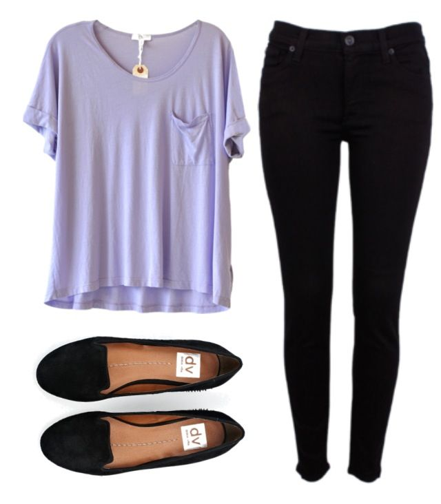 i like the shirt (lilac v neck tee) + shoes (black pointed ballet flats)