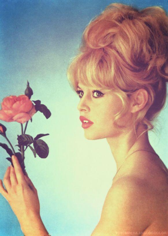 Bardot. All hair. And a rose.