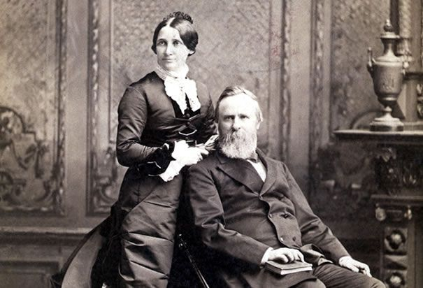 "President Rutherford B. Hayes and First Lady Lucy Webb Hayes, who became known as ""Lemonade Lucy"" because of her refusal to serve alcohol at White House functions and soirees."