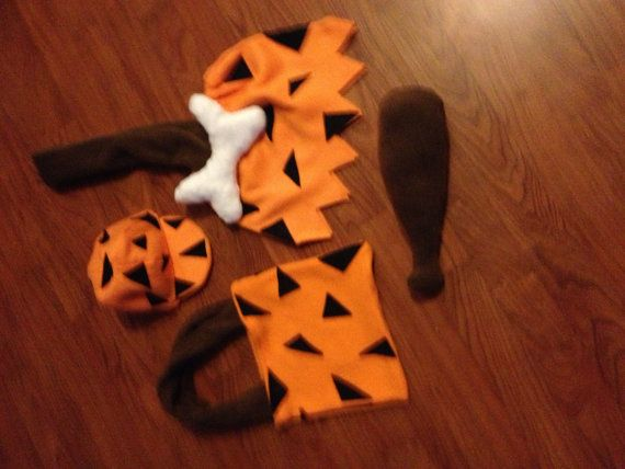 bam bam costume warm boy made out of fleece  and club hat and