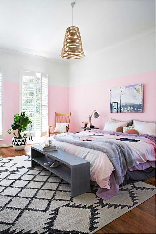 stylist Julia Green and photographer Armelle Habib. The April 2014 issue of 'Inside Out' pink bedroom with wicker pendant and kilim rug