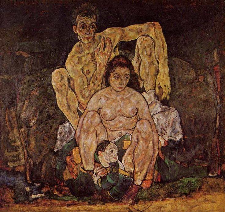 エゴン・シーレ 「 家族(うずくまる人物群像) 」 1918  152.5 x 162.5 cm  オーストリア美術館  ウィーン