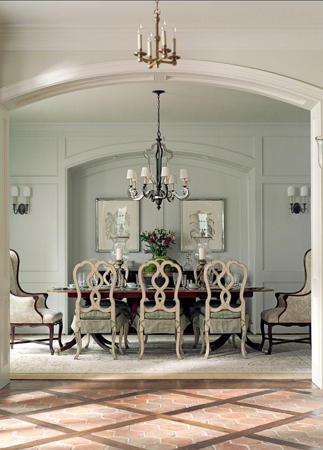 French Dining Room. Great paint color and decor in traditional French dining room. French chandelier is by Currey Co. #French #DiningRoom