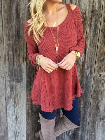 Rust Open Shoulder Sweater – Lola Jeannine