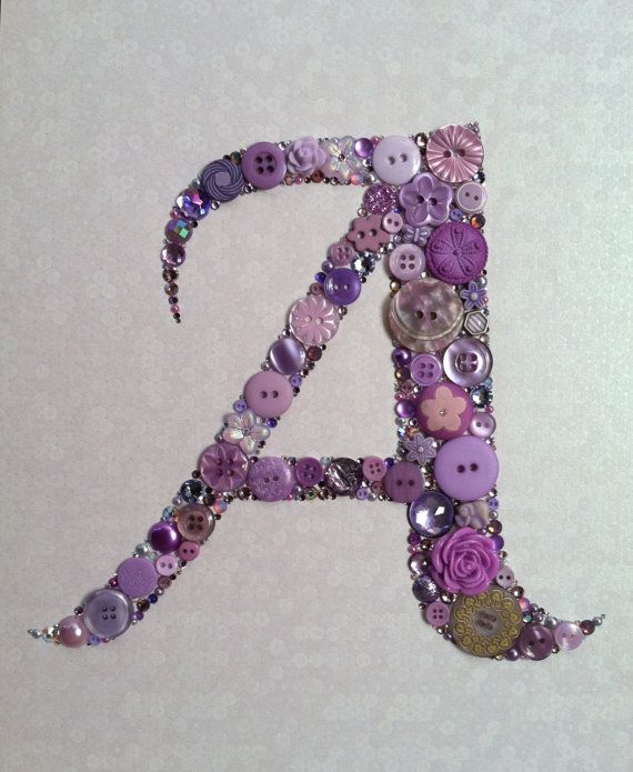 "CUSTOM Button Monogram Button & Swarovski Art Button Art Wedding Gift Baby Gift Uniques Gift 8""x10"""