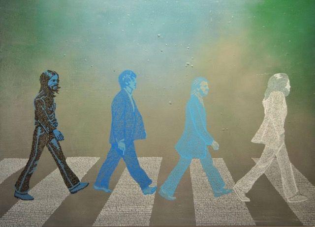 Abbey Road, Kira Lee(aka Dani Daniels), Spray Enamel With Acrylic Gel Pen On Canvas, 36 X 48 In, 2016 Word Pointillism