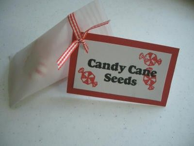 Candy cane seeds. Use peppermint disc's, Bob's mints or red & green M ...