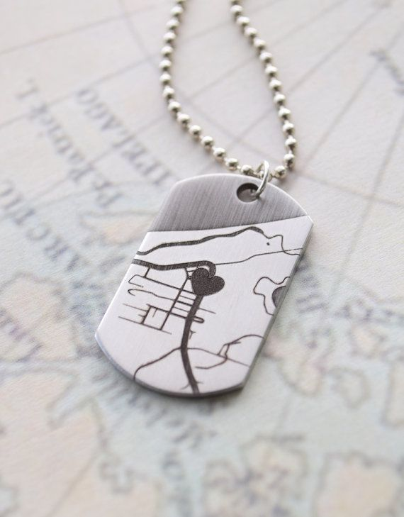 Personalized Dog Tag Map Necklace by Olive Yew. A sentimental gift for him this Valentine's Day? Commemorate a special place with our men's map necklace.
