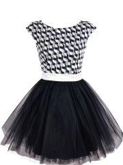 Alternatywna sukienka tiulowa czarna w geometryczne wzory