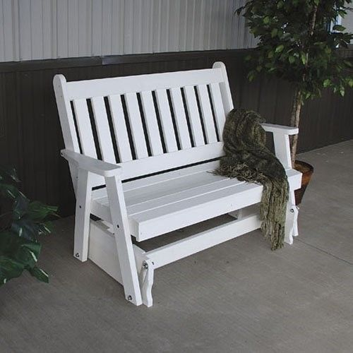 A & L Furniture Traditional English Recycled Plastic 4 ft. Outdoor Glider Loveseat, Green