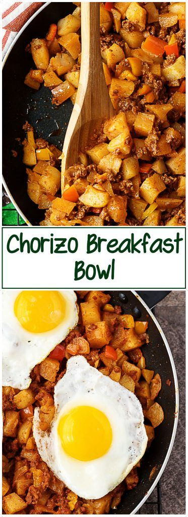 #ad Spice up your breakfast with this chorizo breakfast bowl made with sausage, potatoes, peppers, and eggs. @simplypotatoes -->https://ooh.li/29edd10 via @berlyskitchen #chorizo #eggs #potatoes #simplypotatoes #breakfast