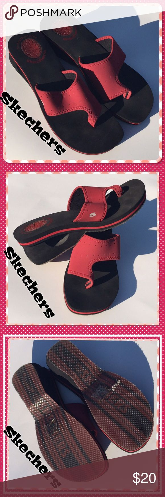 Brand new: stylish red Skechers  sandals Step out in these stylishly unique Skechers: Size 11, black & red sandals; surprisingly comfortable, perfect for that day at the lake, or any occasion where you can let your hair down & just be uniquely you Skechers Shoes Sandals
