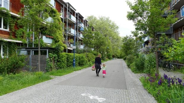 A residential neighbourhood in Vauban, a district of Freiburg in south-west Germany.