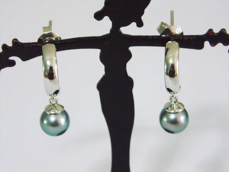 14K 585 White Gold Half Hoop Post Earrings with dangling Gray Pearls #Hoop