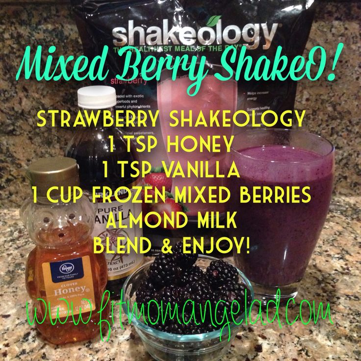 Strawberry Shakeology with frozen mixed berries!