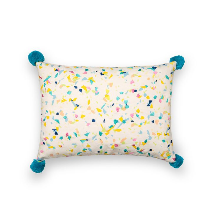 Liven up muted colour schemes and double up in style with our rectangular Cara Camo Pom  Pom Cushion